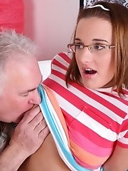 When he gets Amy's panties off, this old guy simply can't control himself and has to get his cock in her tight pussy as soon as possible bef