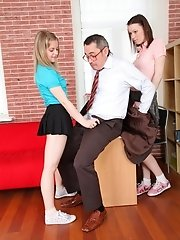A great tricky old teacher movie with two babes instead of one.  This teacher is really up on his game to get them both sucking on his cock and fuckin