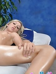 Cute blonde Callie fucked hard on the massage table